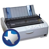 texas map icon and a vintage, dot matrix printer